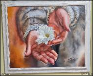 Marija Ban -  Hands with flower, oil painting on canvas