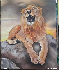 Marija Ban -  Yawning lion, oil painting on canvas
